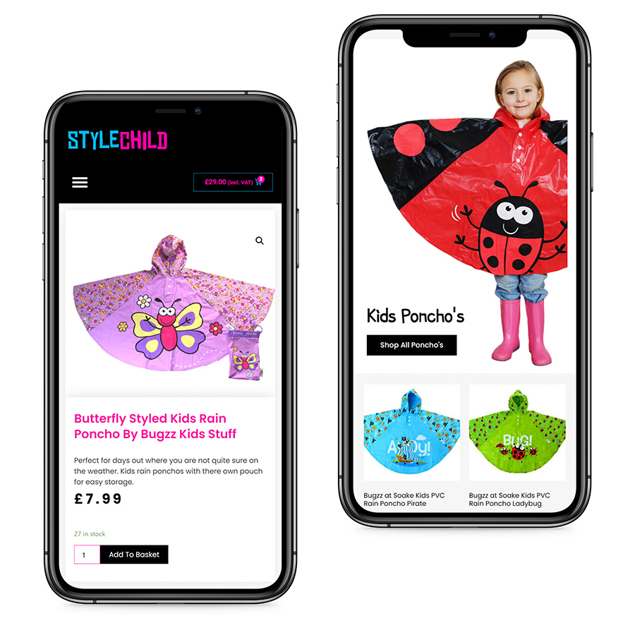 The StyleChild responsive website design shown on a mobile phone
