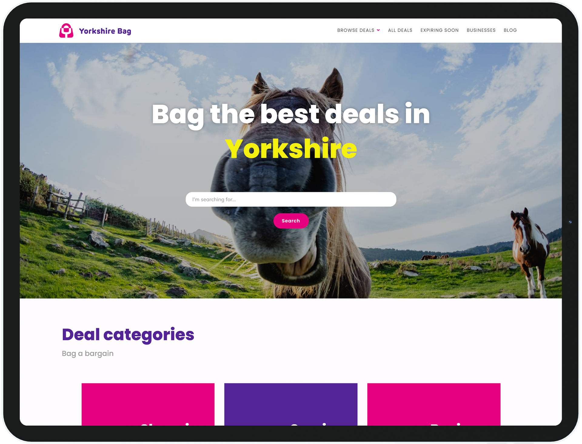 The Yorkshire Bag website design displayed on a tablet